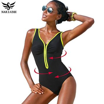 NAKIAEOI One Piece Swimsuit 2017 New Plus Size Swimwear Women Vintage Bathing Suits Summer Beach Wear Zipper Padded Swimming 4XL