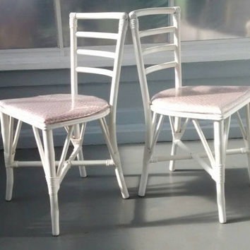 Vintage, Faux, Bamboo, Bent, Wood, Kitchen, Chairs, Upholstered, White