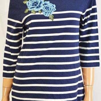 Charter Club Women Cotton Blue Striped Embroidered Blouse Top X-Large XL