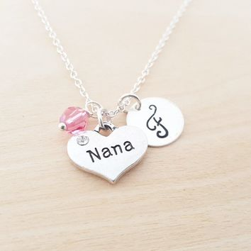 Nana Necklace - Grandmother Necklace -  Initial Necklace - Personalized Jewelry - Birthstone Necklace - Gift for Her