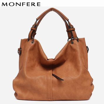 MONFERE Brand Large Women's Leather Handbags High Quality Female Pu Hobos Shoulder Bags Solid Pocket Ladies Solid Ladies Totes