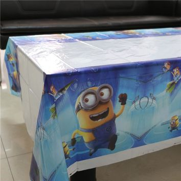 Lovely 108cm disposable  Boy Birthday tablecloth Cartoon Minions kids happy birthday party plastic tablecover supplies