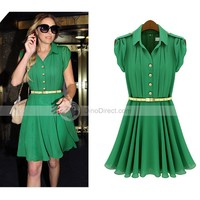 XDIAN Fashion high quality women's Knee-length dress summer clothes Pleated Chiffon Mid-Calf Dress with Belt - DinoDirect.com