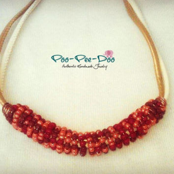 Bib necklace Red Beaded necklace Red Brown Peach Seed bead necklace Ethno necklace Statement Chunky necklaces Beaded jewellery Gift for her