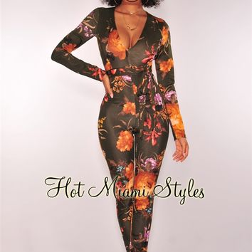 Olive Autumn Floral Long Sleeves Belted Jumpsuit