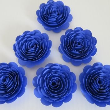 "Violet Roses, 3"" Paper Flowers, Set of 6 Purple/Blue Wedding Flowers, Bridal Shower Decor, Midnight Theme Tea Party Decorations, Birthday"