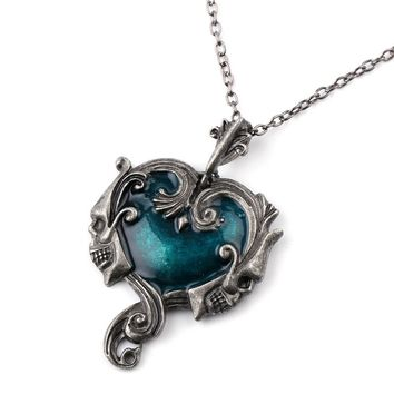 Gothic Statement Jewelry Skull Heart Necklace Pendant Steampunk Jewelry Skeleton Punk Rock Colar Masculino Masculine Necklace