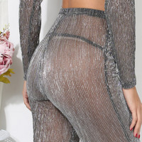 Hot! fashion Sexy belly hollow gauze high neck two piece
