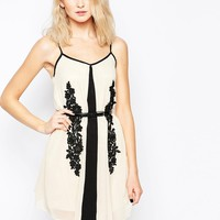 Little Mistress Shift Dress with Contrast Lace Detail at asos.com