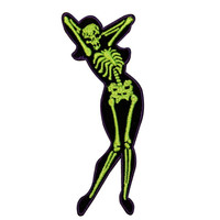 Creepy Zombie Dead Horror Gothic Iron on Patch - Sexy Green Skeleton Chick KV73