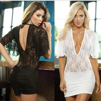Hot Deal On Sale Cute Ball Gown See Through Lace Sexy Exotic Lingerie [6595473987]