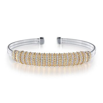 Lafonn Sterling Silver Milano Bangle Bracelet with Multi-Row Simulated Diamond Accent
