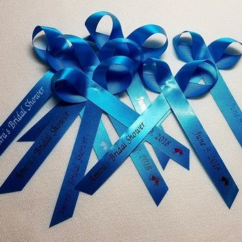 Personalized Ribbons for favors - Choice of color & image to accent your Bridal Shower or Celebration Assembled Ribbons | Pack of 25