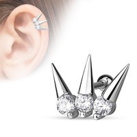 3 CZ Set Spikes Cartilage / Tragus Earring