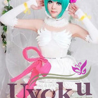 Vocaloid HATSUNE MIKU Cosplay Costume White Wedding Party Dress Custom