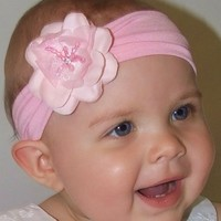 Baby Girls Flower Headband with Rhinestone Madeline Collection Fits Newborn to 12 Months