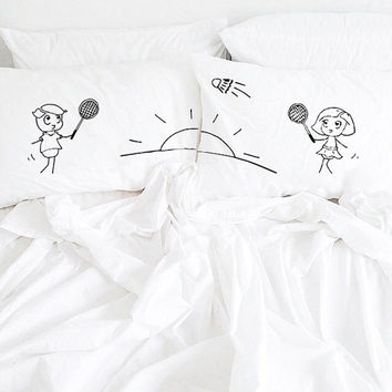 Couple Pillowcases,Couples Pillow Cases,His Hers Pillowcases, tennis gift, badminton gifts, Couples Gifts, wedding gift, Cotton anniversary