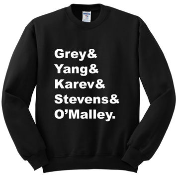 "Grey's Anatomy Interns ""Grey & Yang & Karev & Stevens & O'Malley."" Crewneck Sweatshirt"