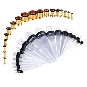 BodyJ4You Gauges Kit Clear Tapers Gold Plugs Steel 14G-00G Stretching Set 36 Pieces