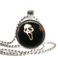 Scream Ghostface Necklace Silver Plated Picture Pendant