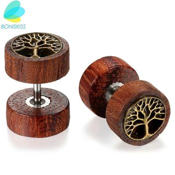 Boniskiss Wooden Earrings Double Sided Round Life Tree Stud Earrings For Men Women Punk Gothic Barbell Earrings Female Male