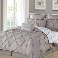 Duck River Esy Reversible Comforter Set - Cream/Tan - Size Queen
