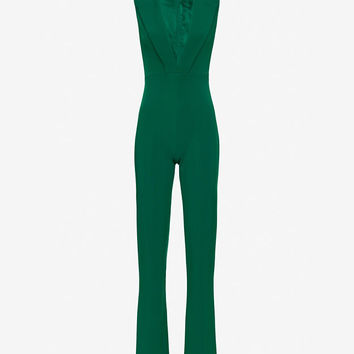Cushnie Et Ochs Tuxedo V Neck Jumper: Emerald at INTERMIX | Shop Now | Shop IntermixOnline.com
