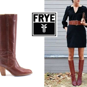 FRYE Boots Size 9 Vintage 70s Knee High Burgundy Maroon Wine Stacked Heel Boots