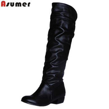 Asumer Plus size 2017 new arrive Mid-Calf Women Boots Black White Brown flat heels hal