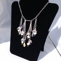 "Silver Chain Accent Necklace with Swarovski Elements and Freshwater Pearls, ""Destiny"""