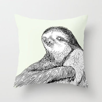 Portrait of a Sloth Throw Pillow by Andrew Henry