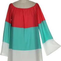 Neopolitan Off Shoulder Dress - Coral, Mint, and White