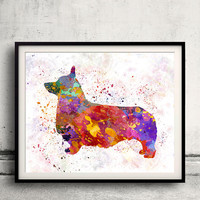 Pembroke Welsh Corgi 01 in watercolor INSTANT DOWNLOAD 8x10 inches Fine Art Print Poster Decor Home Watercolor Illustration Dog - SKU 0197