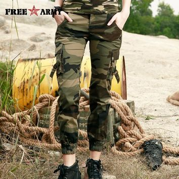 FreeArmy Brand Pants Women 2018 Fashion Military Camouflage Cotton Ankle-Length Casual Pants Summer Elastic Waist Female Trouser
