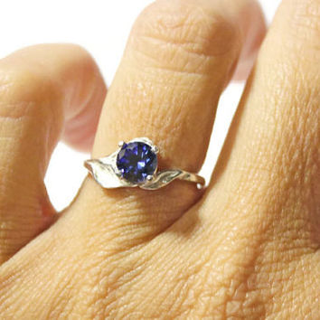 Blue Sapphire Ring, Sterling Silver Leaf Ring, September Birthstone Ring, Anniversary Ring