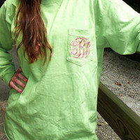 monogrammed pocket t shirt, comfort colors long sleeved t shirt,