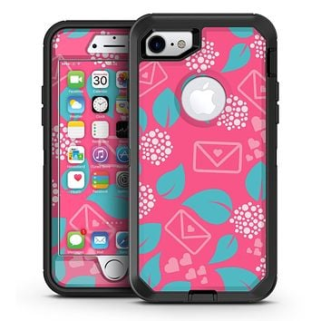 Hot Pink Letters With Teal Green Leaves - iPhone 7 or 7 Plus OtterBox Defender Case Skin Decal Kit