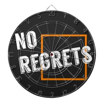 "Fun Graphic Quote ""No Regrets"" Typography Text Dartboard With Darts"