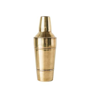 Vintage Brass Finish Round Cocktail Shaker - Stainless Steel