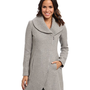 Jessica Simpson Asymmetrical Zip Braided Wool with Shawl Collar