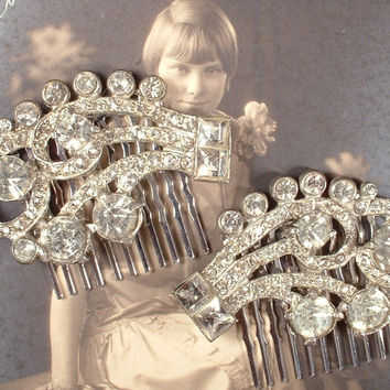 Vintage Art Deco Rhinestone Bridal Hair Comb PAIR, Vintage Heirloom GREAT GaTSBY Pave Fur Clips to OOAK Haircombs Flapper 1920s Wedding