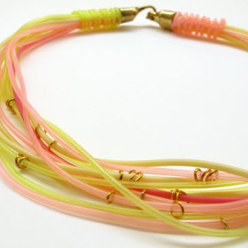Neon Multi Strand Necklace, Yellow Pink Statement Necklace, Rubber Cord Necklace, Short Necklace, Summer Women Gift, Bright Jewelry, Layered