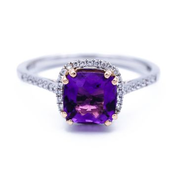 Natural Cushion Amethyst 14k Solid Two-Tone White Gold Band & Rose Gold 4 Prongs with Diamond Halo Ring 1.55 Carat Total Weight