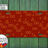 Harry Potter Inspired Pattern Red and Gold Glasses Lightening Bolt Wand For Front License Plate Car Tag One Size Fits All Vehicle Custom