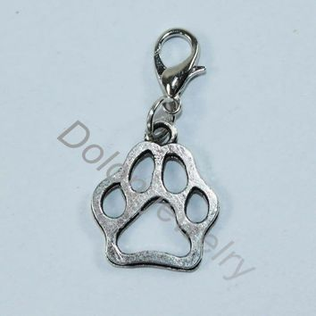 Bear Craw Dog or Cat Paw Charm with Lobster Clasp Fit for Paw Print Necklace or Bracelet Jewelry