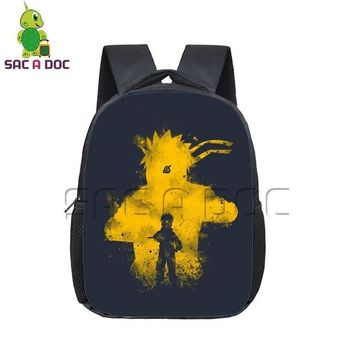 Anime Backpack School kawaii cute Naruto Outline Backpack Children Book Bag Naruto Sasuke Ninetail School Bags for Kids Boys Girls Kindergarten Backpack AT_60_4