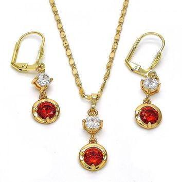 Gold Layered 10.213.0009 Necklace and Earring, with White and Garnet Cubic Zirconia, Polished Finish, Golden Tone
