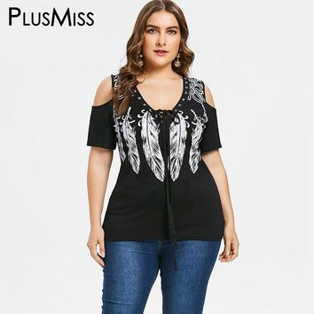 PlusMiss Plus Size 5XL 4XL Black Cold Shoulder Lace Up Tunic Tops Tee Punk Rock Feather Print T-shirt Women Big Size T Shirts