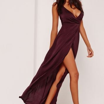 Missguided - Sarah Ashcroft Silky Strappy Maxi Dress Purple