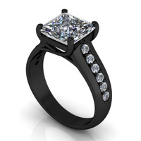 Black Gold Engagement Ring 10 k
